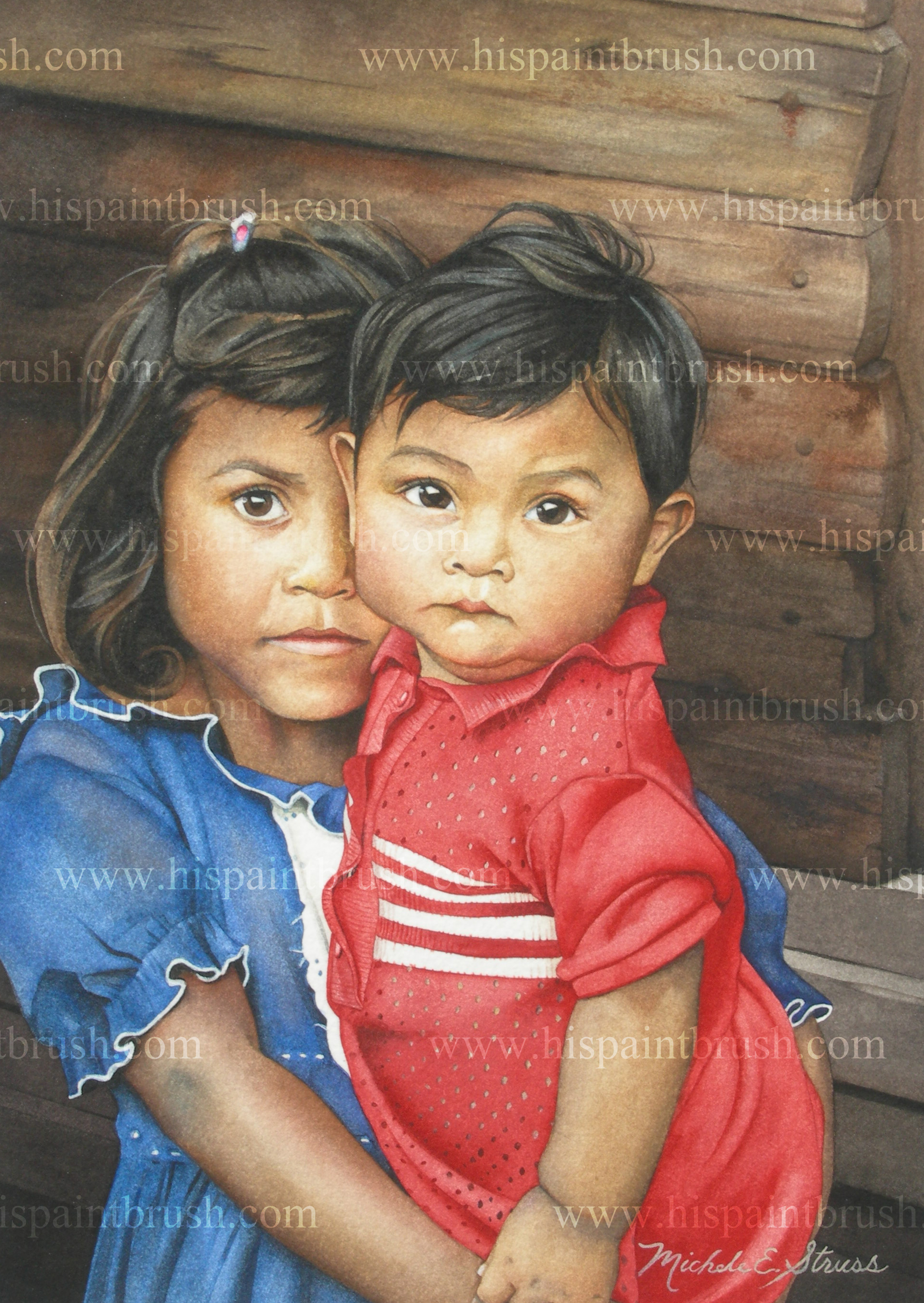 """""""Little Mother"""" - Watercolor by Michele E. Struss.  Prints and notecards available at www.hispaintbrush.com."""